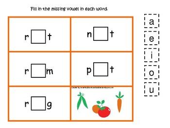 4 Gardening themed CVC Games.  Printable Preschool Game
