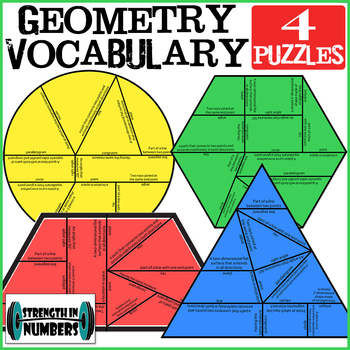 4 Geometry Vocabulary Cooperative Shapes Puzzles for Display