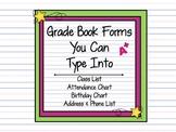 Teacher Plan Book Forms MS Word Class List, Attendance, Birthday & Grading Chart
