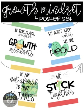 4 Growth Mindset Posters- Plant/Cactus Theme