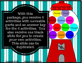 4 Gumball Antonym Assignments - Digital Moveable Gumballs to Sort - Writing