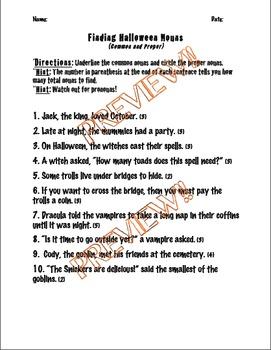 4 Halloween Noun Activities