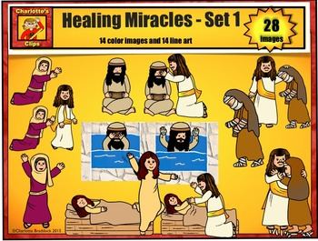 Healing Miracles of Jesus Clip Art set 1: Bible Series by Charlotte's Clips