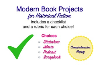 Modern Book Projects - Historical Fiction (with Rubrics & checklist)