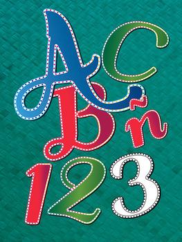 4 Holiday Lights Alphabets - Digital Stamp - 300 DPI PDF-PNG - Latin Characters