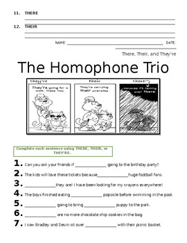 4 Homophones Worksheet (There, Their, They're) - FREE!