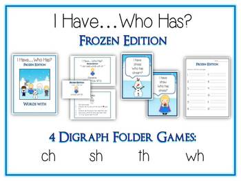 4 I Have Who Has FROZEN Princess Folder Games - DIGRAPHS -