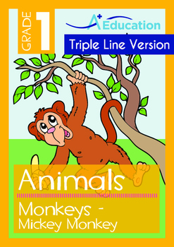 4-IN-1 BUNDLE - Animals (Set 1) Grade 1 (with 'Triple-Track Writing Lines')