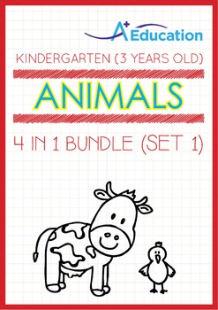 4-IN-1 BUNDLE - Animals (Set 1) - Kindergarten, K1 (3 years old)