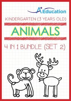 4-IN-1 BUNDLE - Animals (Set 2) - Kindergarten, K1 (3 years old)