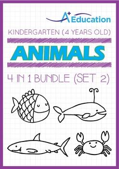 4-IN-1 BUNDLE - Animals (Set 2) - Kindergarten, K2 (4 years old)