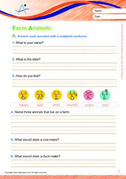 4-IN-1 BUNDLE - Animals (Set 3) Grade 1 (with 'Triple-Track Writing Lines')