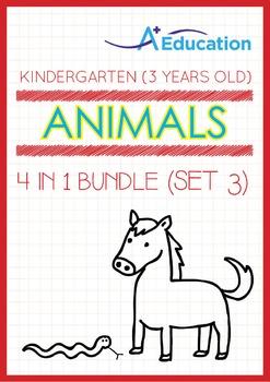 4-IN-1 BUNDLE - Animals (Set 3) - Kindergarten, K1 (3 years old)