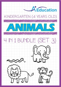 4-IN-1 BUNDLE - Animals (Set 3) - Kindergarten, K2 (4 years old)