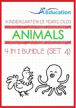 4-IN-1 BUNDLE - Animals (Set 4) - Kindergarten, K1 (3 years old)