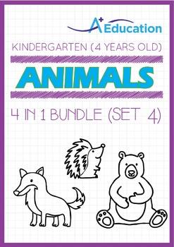4-IN-1 BUNDLE - Animals (Set 4) - Kindergarten, K2 (4 years old)