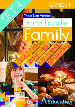 4-IN-1 BUNDLE- Family (Set 4) - Grade 1 (with 'Triple-Track Writing Lines')