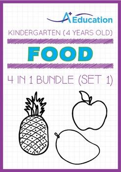 4-IN-1 BUNDLE - Food (Set 1) - Kindergarten, K2 (4 years old)