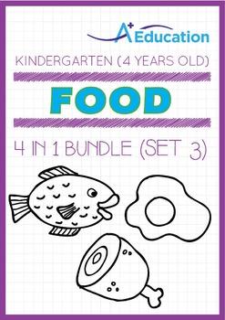 4-IN-1 BUNDLE - Food (Set 3) - Kindergarten, K2 (4 years old)