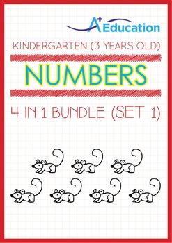4-IN-1 BUNDLE - Numbers (Set 1) - Kindergarten, K1 (3 years old)