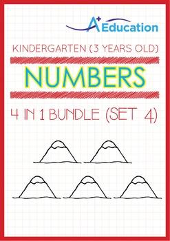 4-IN-1 BUNDLE - Numbers (Set 4) - Kindergarten, K1 (3 years old)