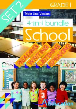 4-IN-1 BUNDLE - School (Set 2) Grade 1 ('Triple-Track Writing Lines')