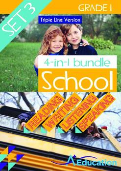 4-IN-1 BUNDLE - School (Set 3) Grade 1 ('Triple-Track Writing Lines')