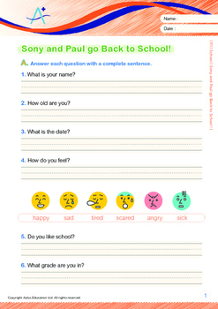 4-IN-1 BUNDLE - School (Set 4) Grade 1 ('Triple-Track Writing Lines')