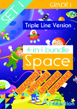4-IN-1 BUNDLE- Space (Set 1) - Grade 1 (with 'Triple-Track Writing Lines')