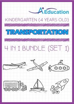 4-IN-1 BUNDLE - Transportation (Set 1) - Kindergarten, K2 (4 years old)