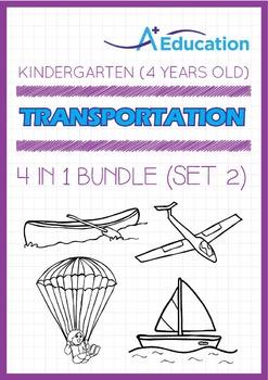 4-IN-1 BUNDLE - Transportation (Set 2) - Kindergarten, K2 (4 years old)