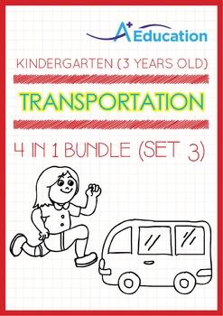 4-IN-1 BUNDLE - Transportation (Set 3) - Kindergarten, K1 (3 years old)