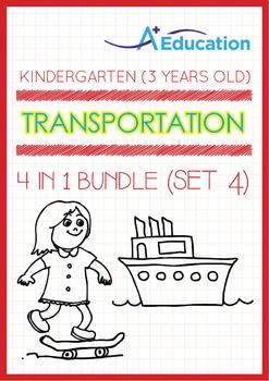 4-IN-1 BUNDLE - Transportation (Set 4) - Kindergarten, K1 (3 years old)