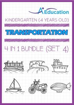 4-IN-1 BUNDLE - Transportation (Set 4) - Kindergarten, K2 (4 years old)