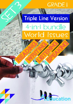 4-IN-1 BUNDLE- World Issues (Set 3) - Grade 1 ( 'Triple-Track Writing Lines')
