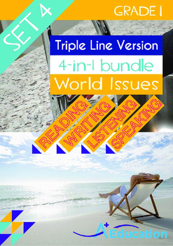 4-IN-1 BUNDLE- World Issues (Set 4) - Grade 1 ( 'Triple-Track Writing Lines')