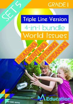 4-IN-1 BUNDLE- World Issues (Set 5) - Grade 1 ( 'Triple-Track Writing Lines')