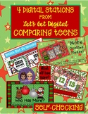 4 INTERACTIVE DIGITAL TASK CARD CENTERS-Comparing CHRISTMAS Teen Numbers 11-19