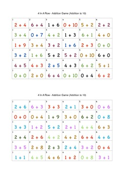 4 In A Row - Addition Game (Addition to 10)