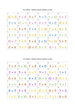 4 In A Row - Addition Game (Addition to 20) with leap
