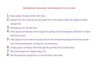 4 In A Row Homophones, Synonyms, Antonyms