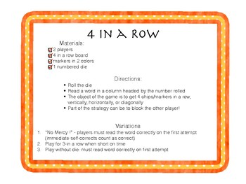4 In a Row Multi Syllable Root Words with Suffix for RTI and small group