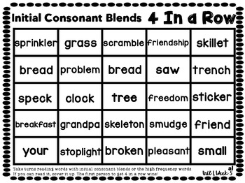 4 In a Row: Reading Street Skills Unit 1, Week 5 - Initial Consonant Blends
