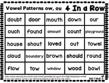 4 In a Row: Reading Street Skills Unit 5, Week 2- Vowel Patterns ow, ou