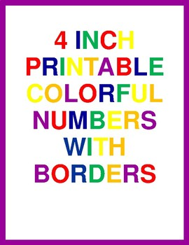 4 Inch Printable Colorful Numbers With Borders