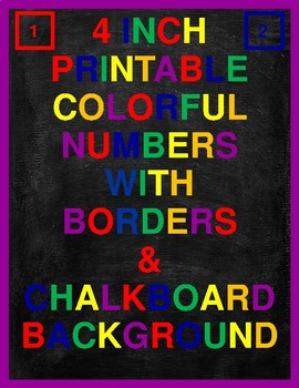 4 Inch Printable Colorful Numbers With Borders & Chalkboard Background