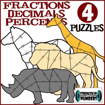 4 Fraction, Decimal, Percent conversions Cooperative Puzzles - Safari Animals
