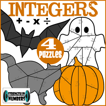 4 Integer Operations Cooperative Puzzles to make a Halloween Bulletin Board