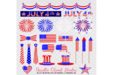 4 July Clipart Fireworks flag bunting banners hats ties ribbons USA celebration