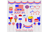 4 July Clipart Food drink American flag Usa planner stickers icecream glasses